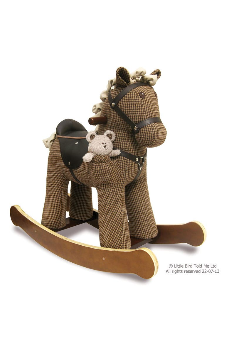 LITTLE BIRD TOLD ME Chester & Fred Rocking Horse & Stuffed Animal, Main, color, HOUNDSTOOTH