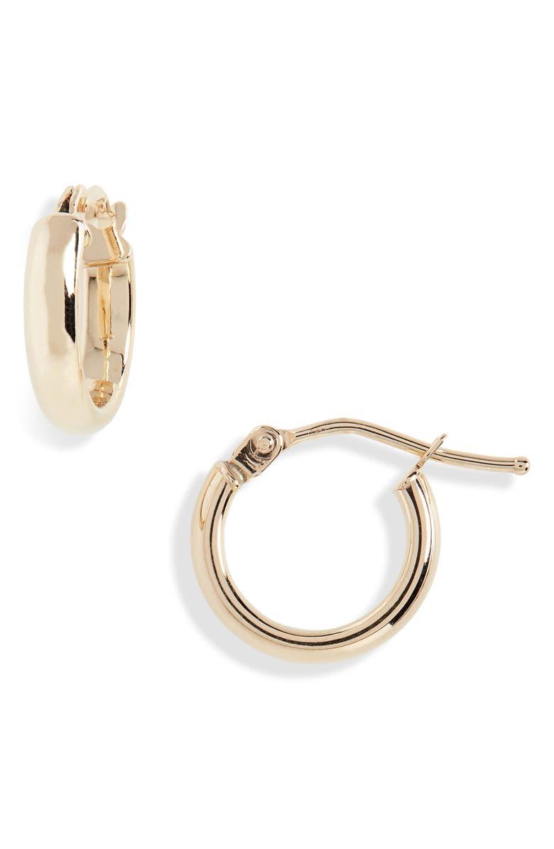 BONY LEVY Beveled Edge Huggie Hoop Earrings, Main, color, YELLOW GOLD