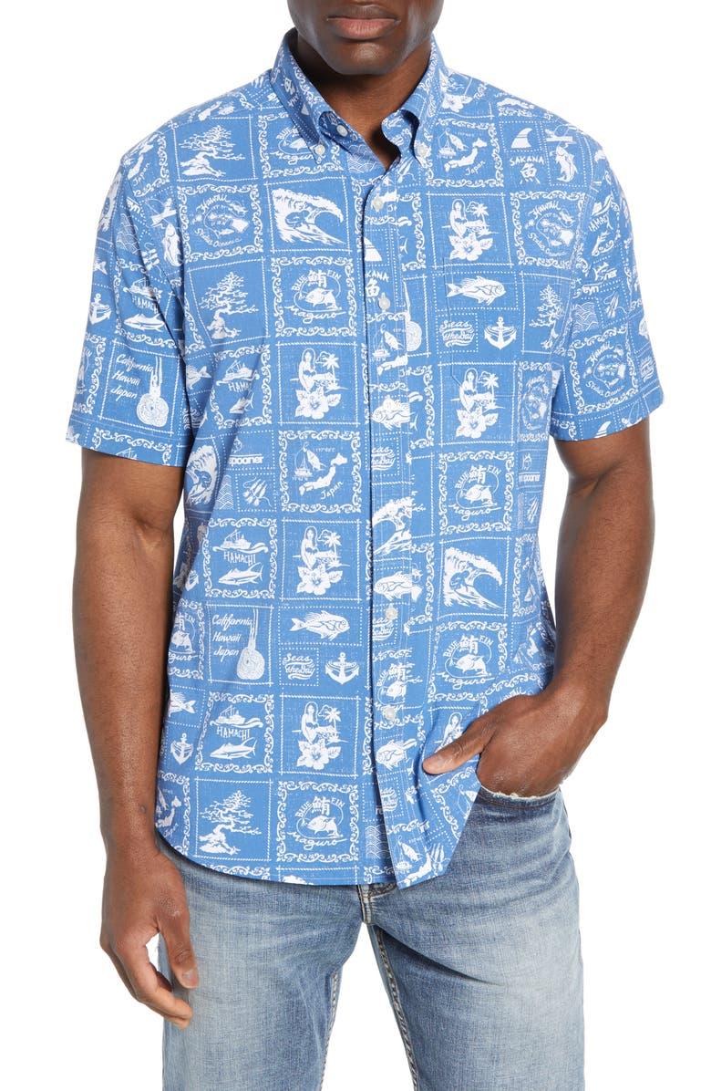 SOUTHERN TIDE x Reyn Spooner Bandana Intercoastal Short Sleeve Button-Down Performance Shirt, Main, color, 430