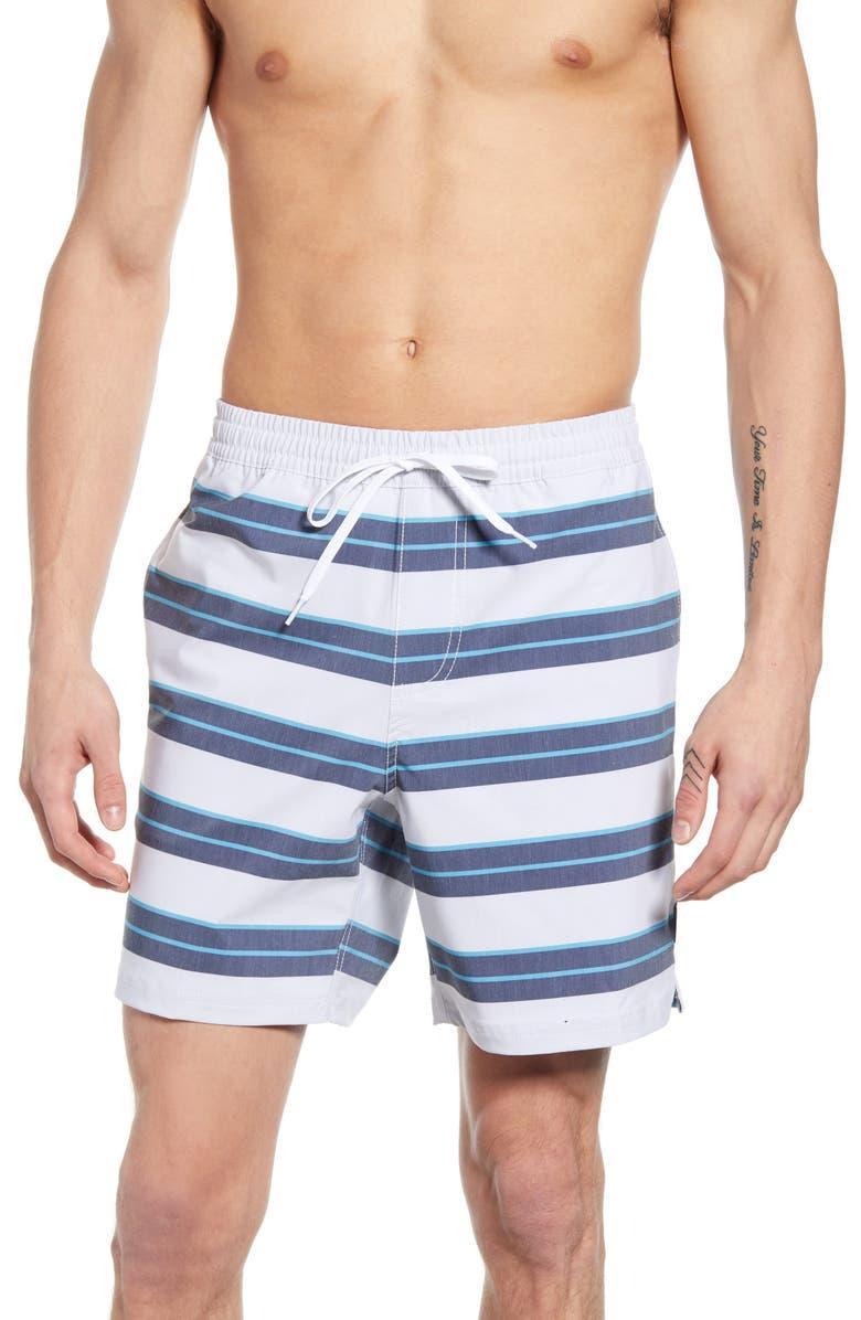 VANS Back Patio Stripe Board Shorts, Main, color, WHITE/ DRESS BLUES