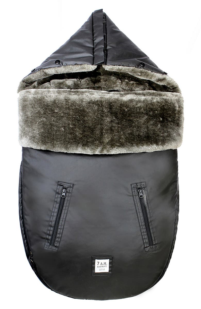 7 A.M. ENFANT WaxedPOD Faux Fur Lined Water Repellent Car Seat/Stroller Bunting, Main, color, WAXED FOREST