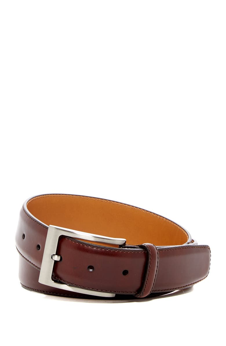 MAGNANNI Square Buckle Leather Belt, Main, color, MID BROWN
