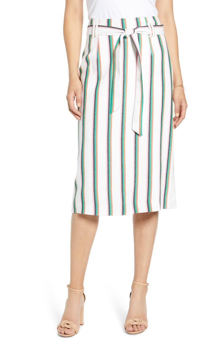 HALOGEN<SUP>®</SUP> Tie Waist Stripe Midi Skirt, Main, color, WHITE MULTI STRIPE