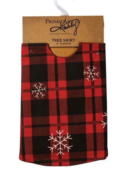 "Image of Primitives by Kathy Plaid Snowflake Tree Skirt - 24"""