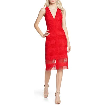 Bardot Daria Lace Sleeveless Dress, Red