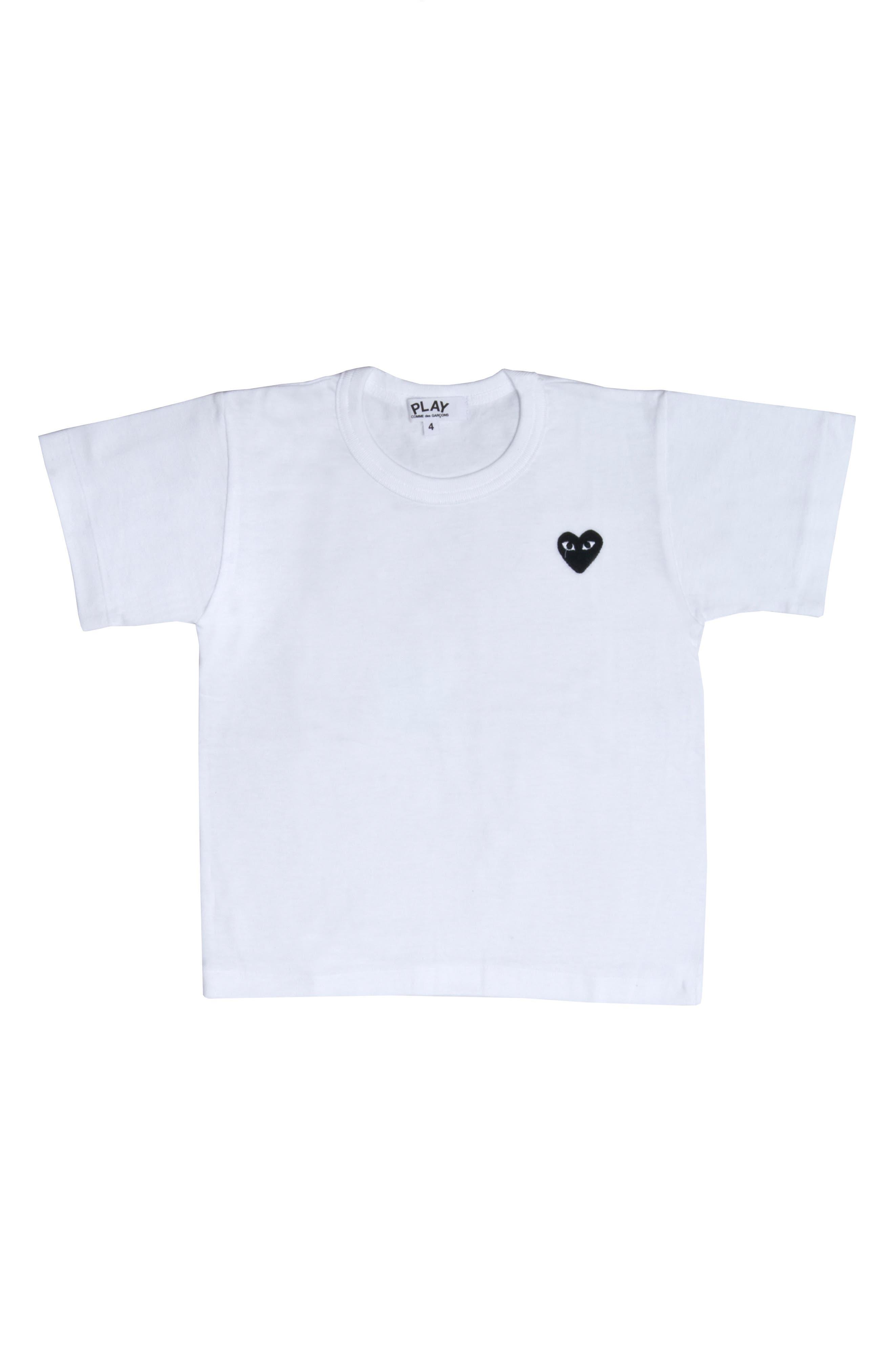 ,                             Comme des Garçons Little Black Heart T-Shirt,                             Main thumbnail 1, color,                             WHITE