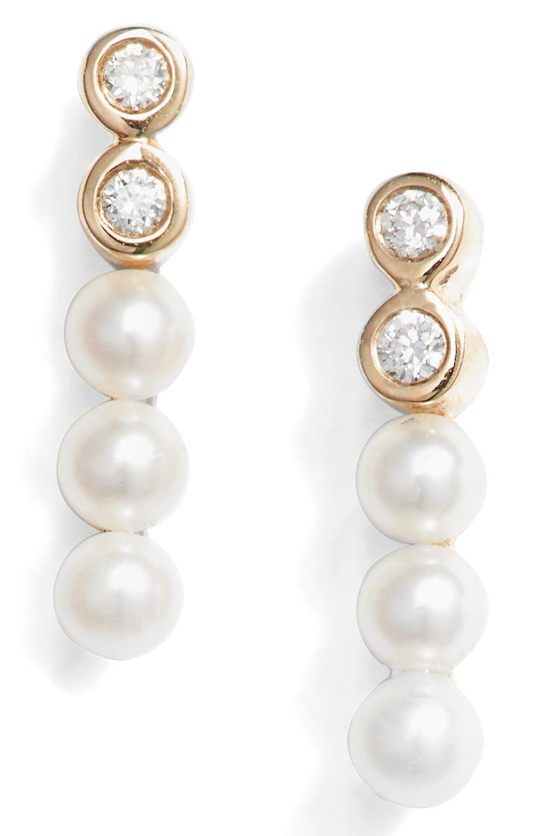 DANA REBECCA DESIGNS Pearl & Diamond Bar Stud Earrings, Main, color, YELLOW GOLD