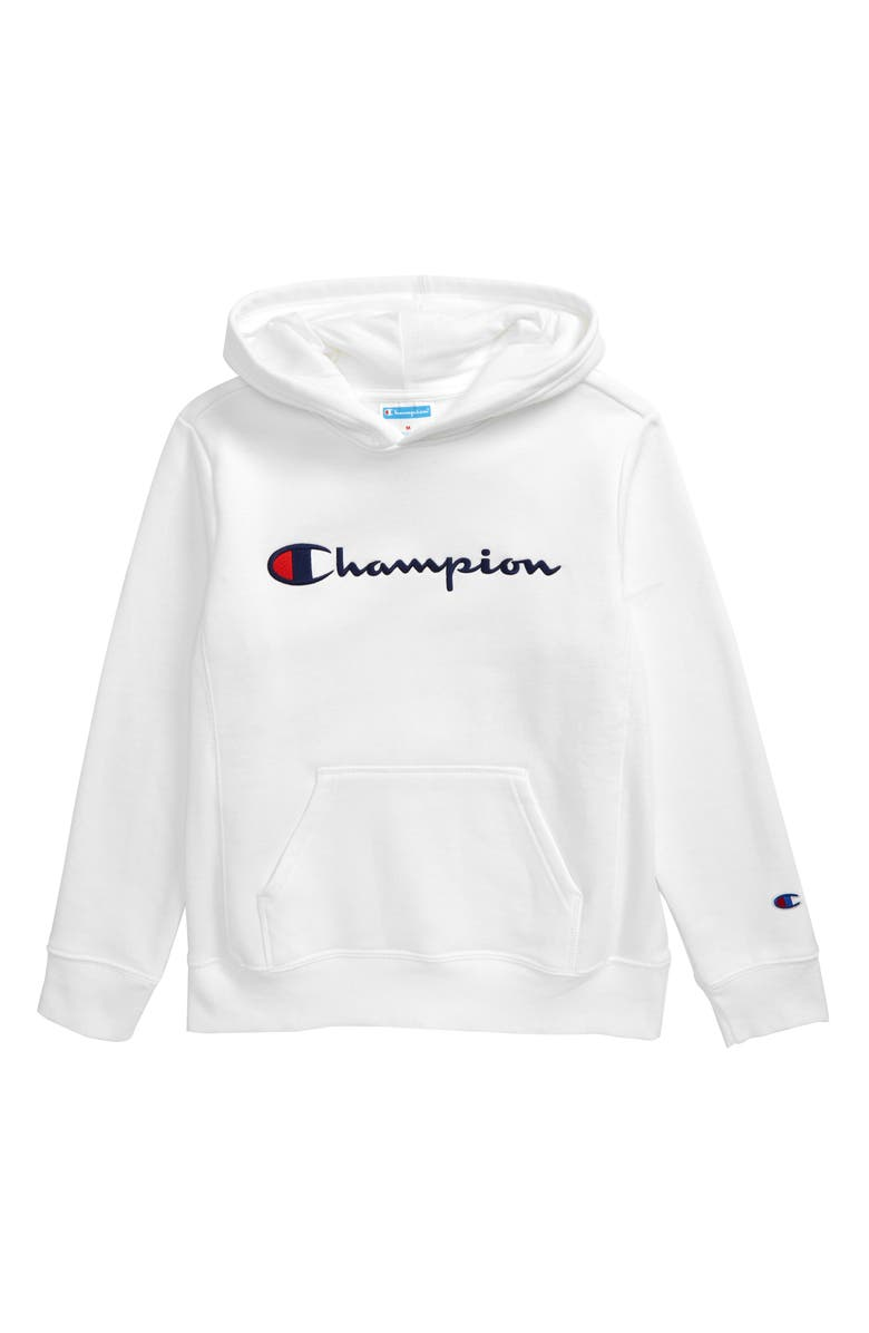 CHAMPION Reverse Weave<sup>®</sup> Embroidered Logo Hoodie, Main, color, WHITE