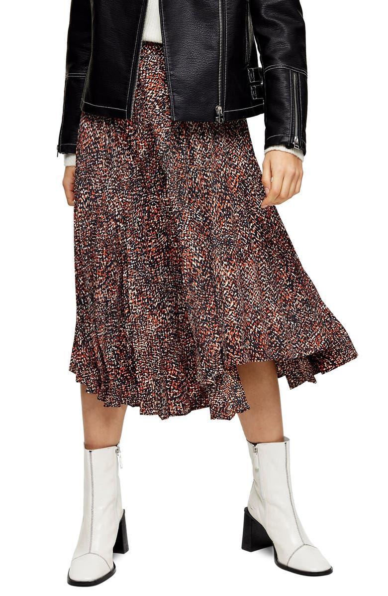 TOPSHOP Animal Print Pleated Skirt, Main, color, 200