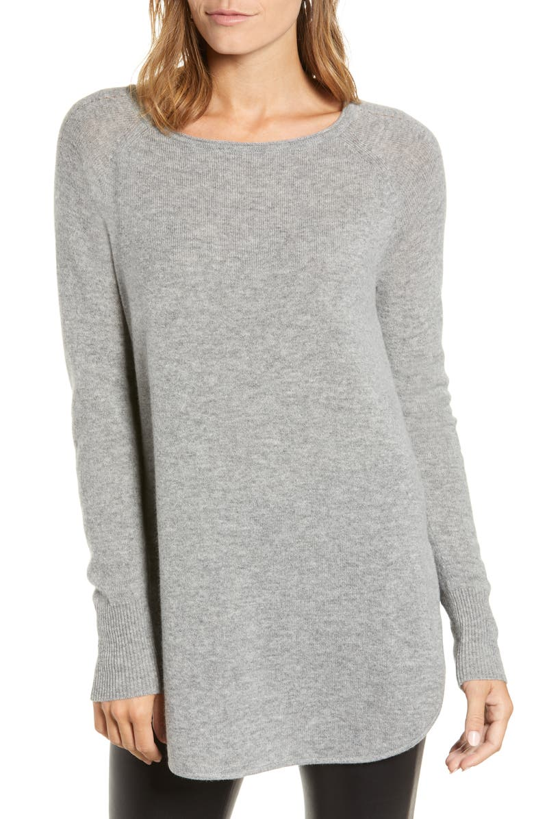 HALOGEN<SUP>®</SUP> Shirttail Wool & Cashmere Boatneck Tunic, Main, color, GREY HEATHER