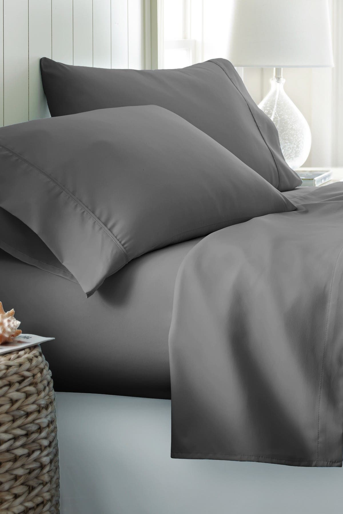 Image of IENJOY HOME California King Hotel Collection Premium Ultra Soft 4-Piece Bed Sheet Set - Gray