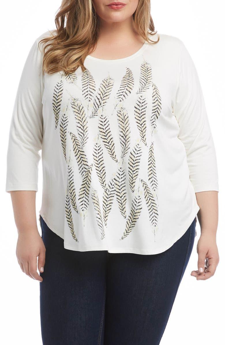 KAREN KANE Feather Print Shirttail Tee, Main, color, IVORY