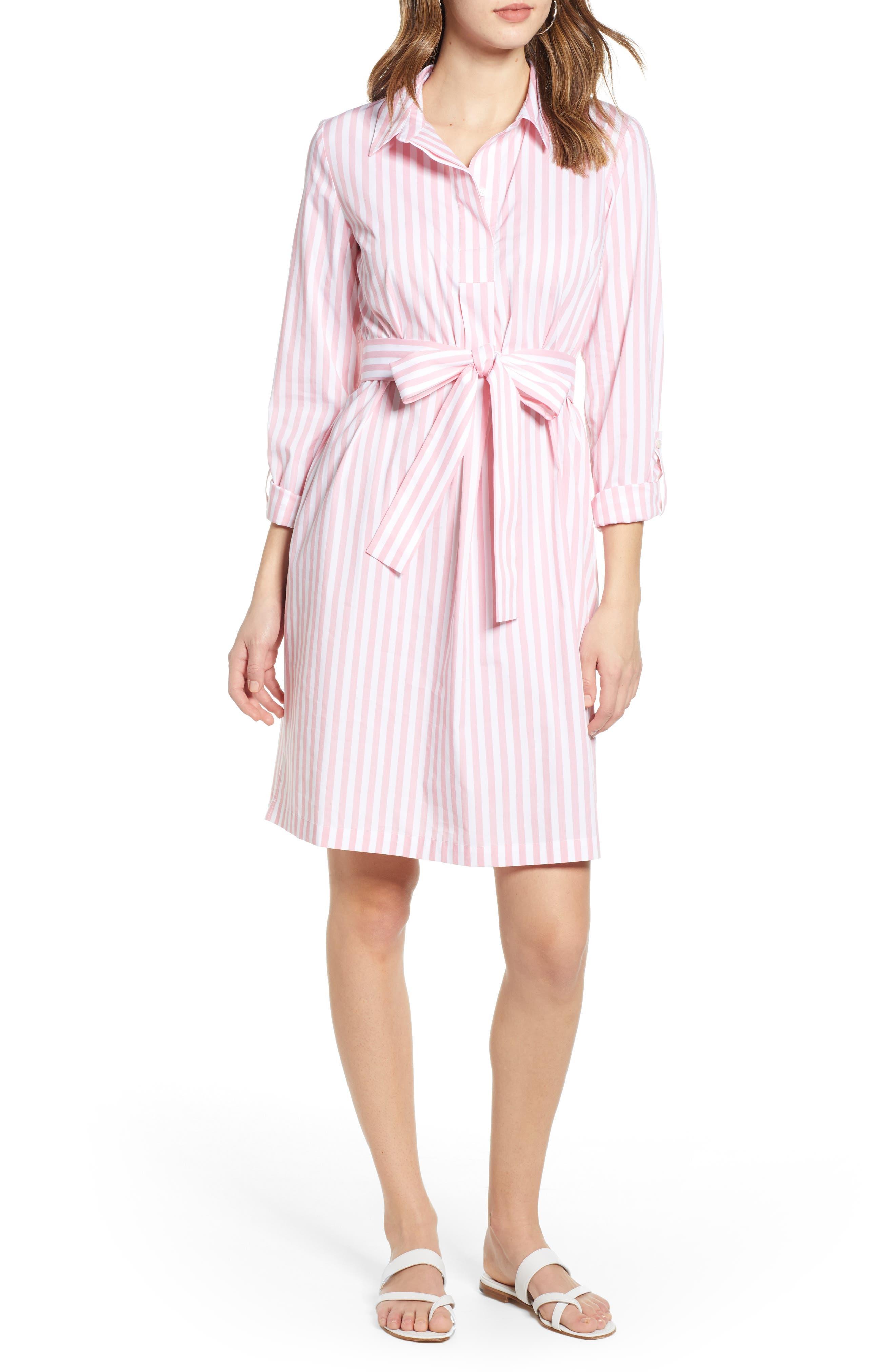 1901 Stripe Shirtdress, Pink