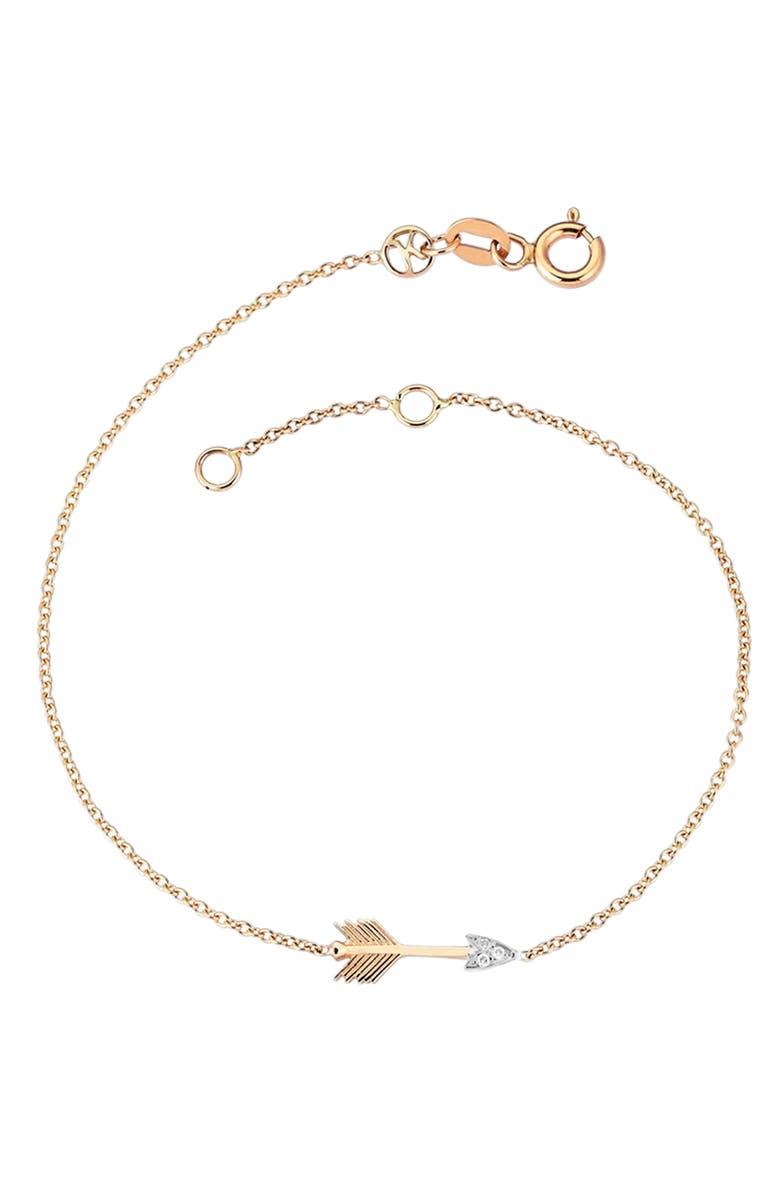 KISMET BY MILKA Arrow Bracelet with Diamonds, Main, color, 712