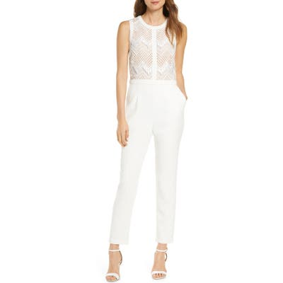 Adelyn Rae Melody Lace Jumpsuit, White