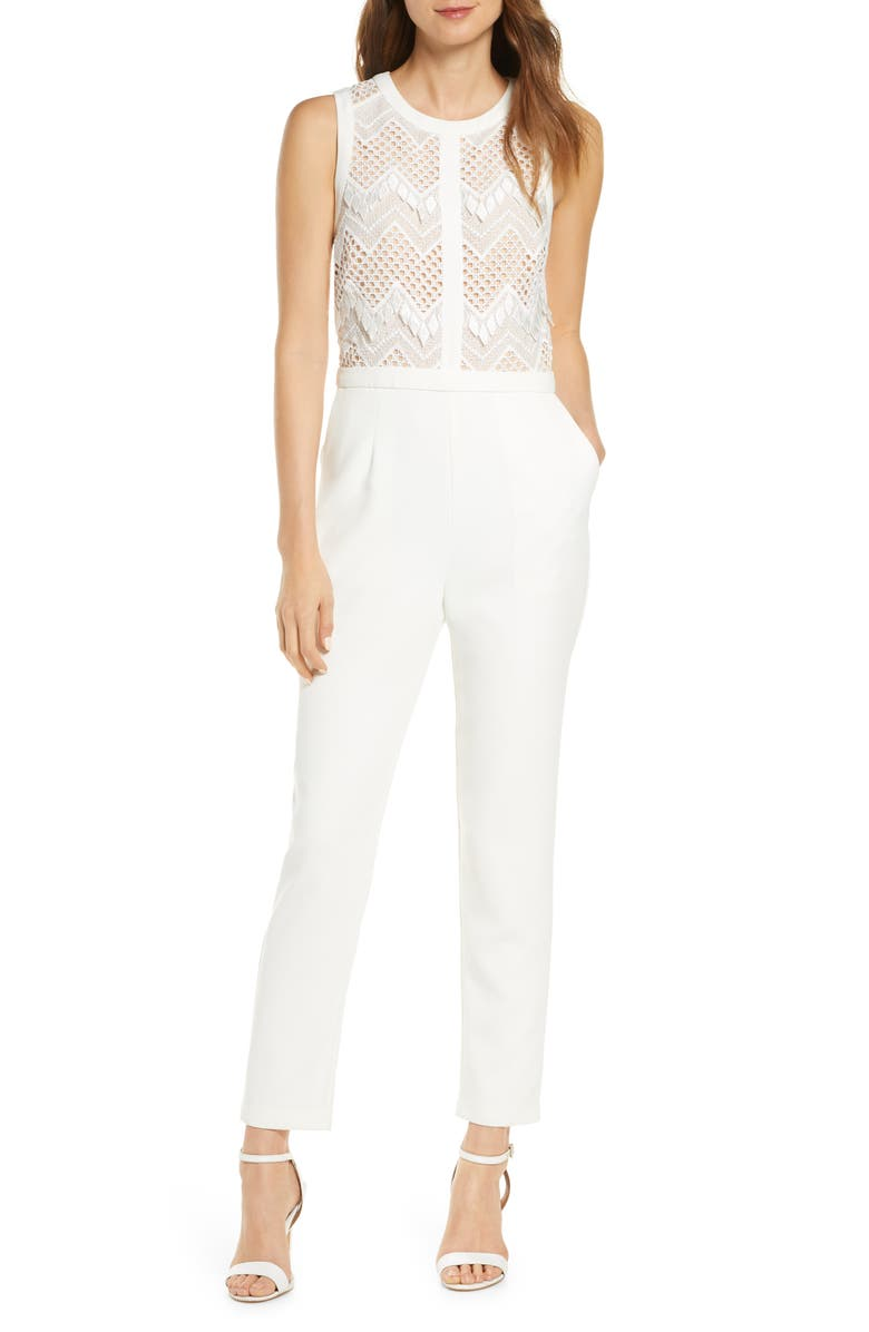 ADELYN RAE Melody Lace Jumpsuit, Main, color, WHITE-NUDE