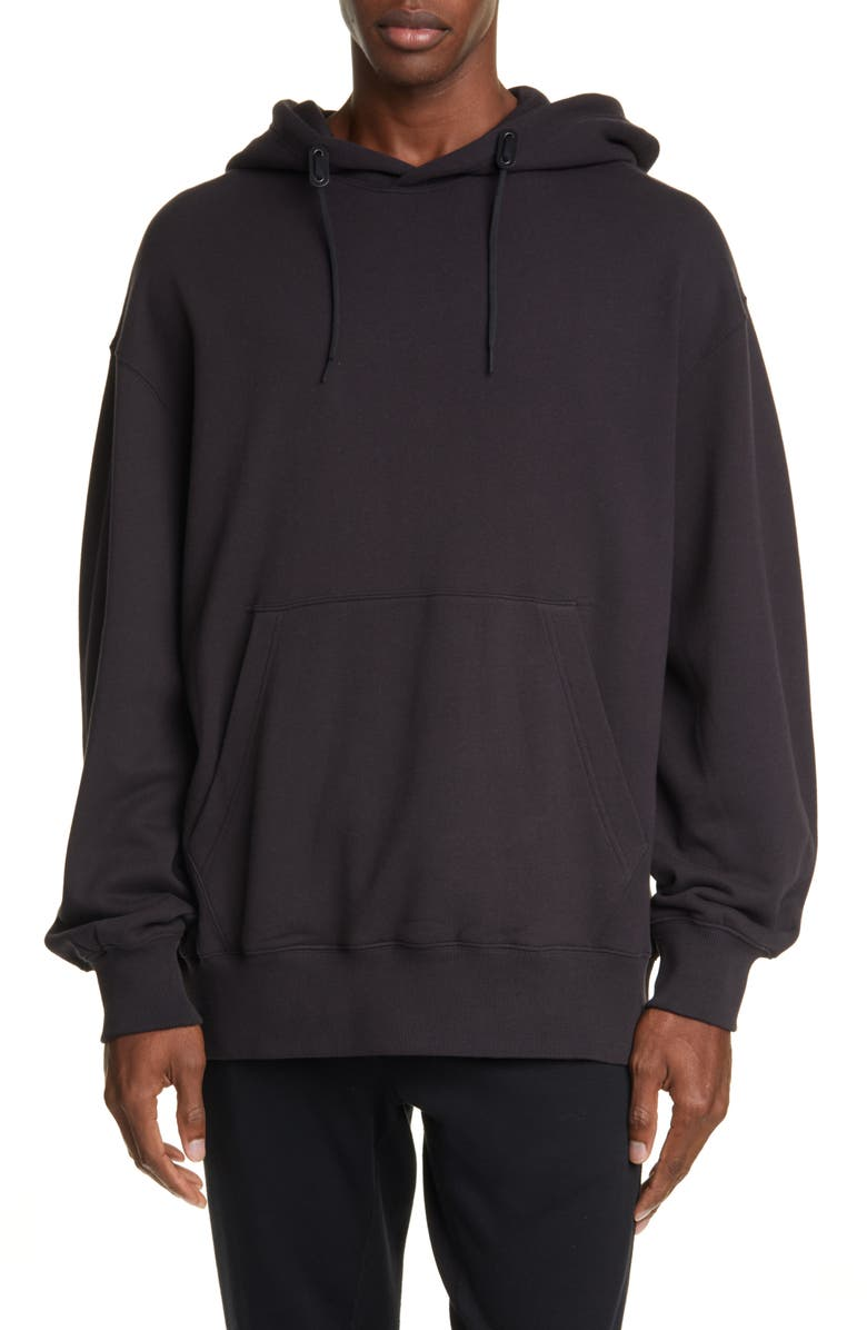 Y-3 Toketa Floral Print Hooded Sweatshirt, Main, color, BLACK