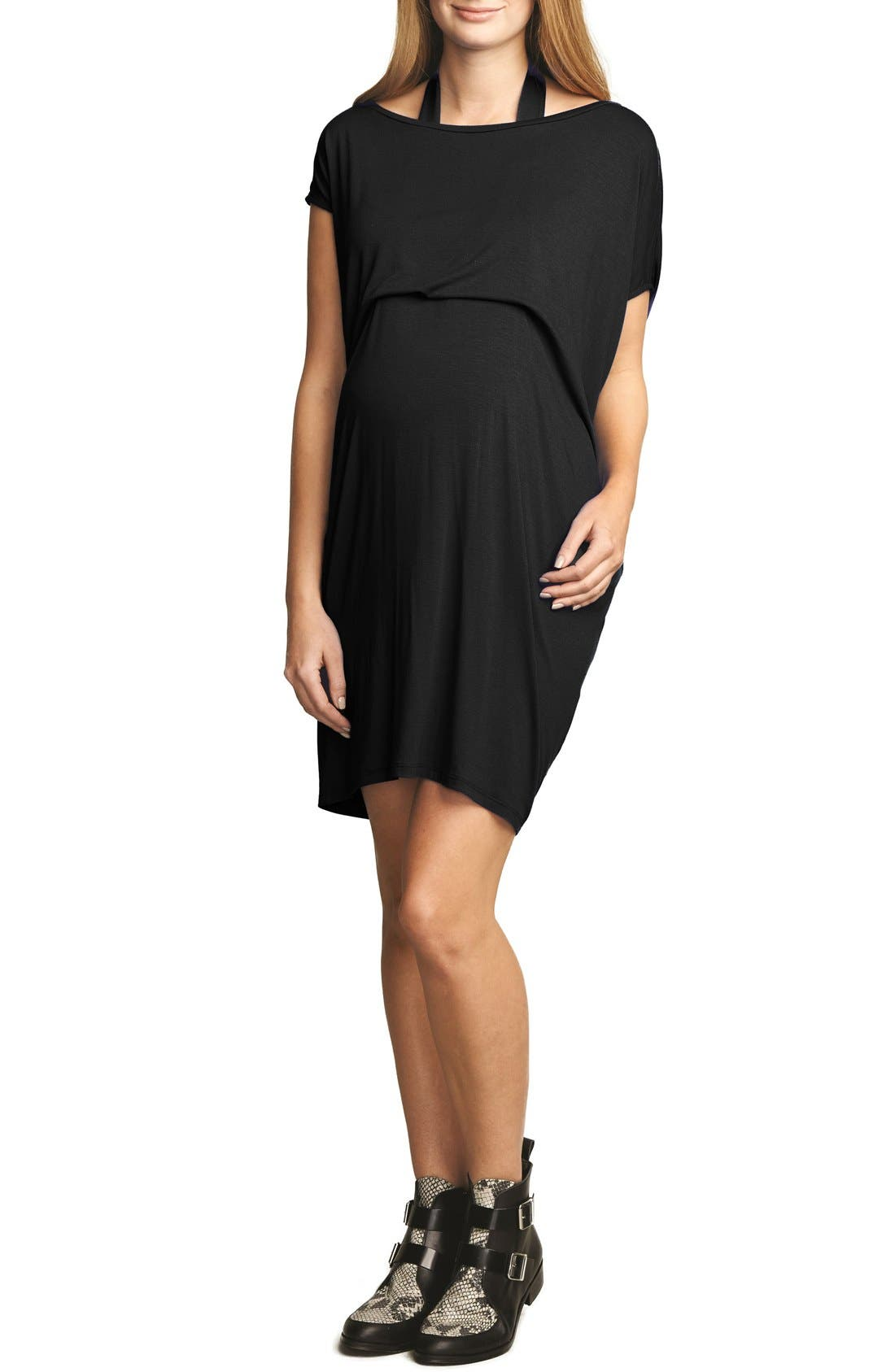 The Urban Ma Halter Maternity Dress, Black