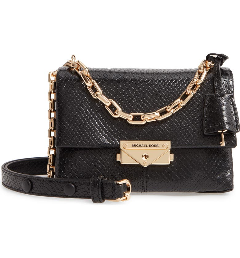 MICHAEL MICHAEL KORS Extra Small CeCe Leather Crossbody Bag, Main, color, BLACK