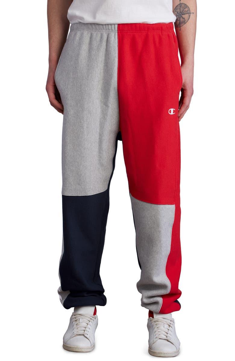 CHAMPION Colorblock Sweatpants, Main, color, NAVY/ OXFORD GREY/ SCARLET