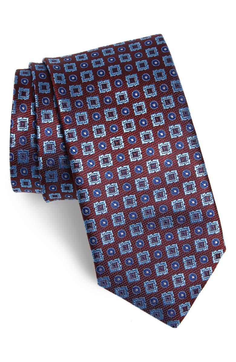 CANALI Geometric Silk Tie, Main, color, DARK RED