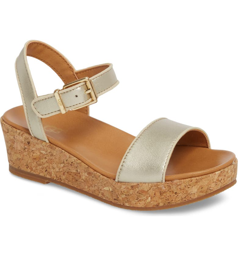 UGG<SUP>®</SUP> Milley Wedge Sandal, Main, color, GOLD