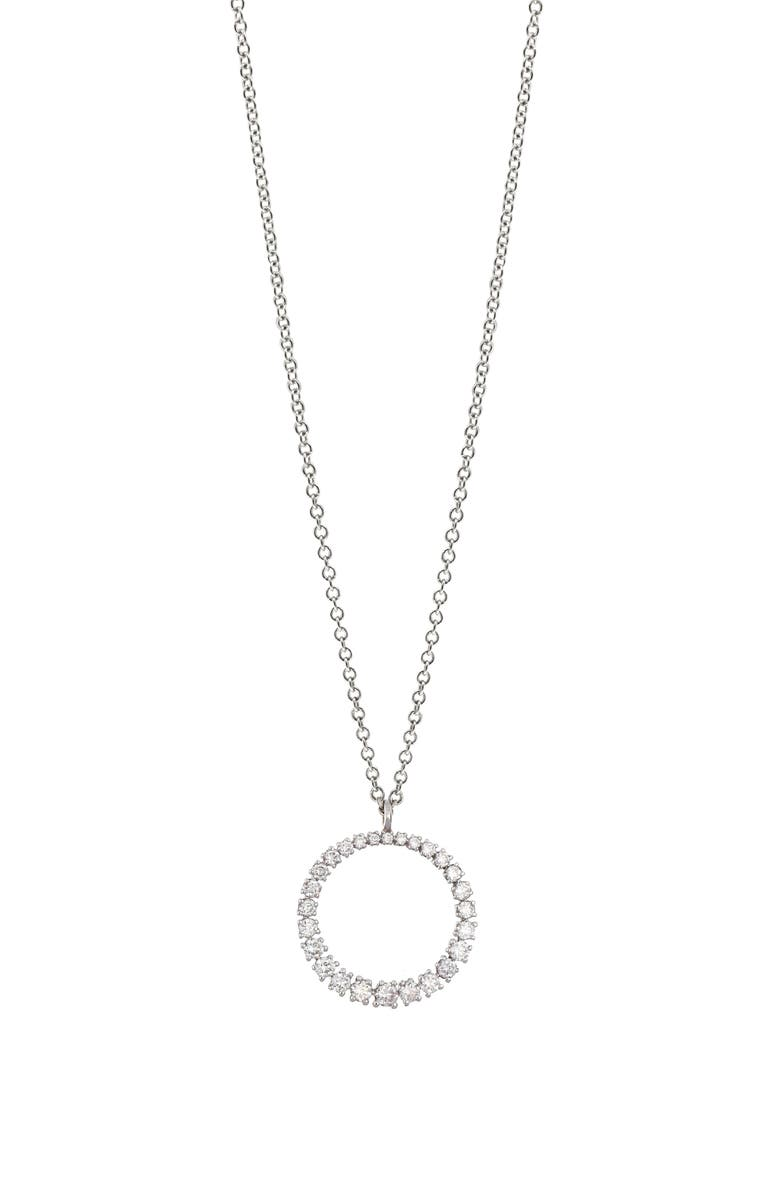 BONY LEVY Graduated Diamond Circle Pendant Necklace, Main, color, WHITE GOLD/ DIAMOND