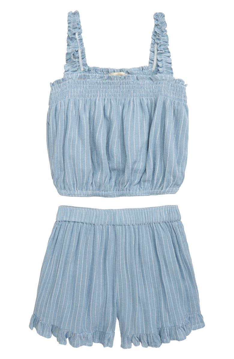 TUCKER + TATE Stripe Tank & Shorts Set, Main, color, BLUE CHAMBRAY PINSTRIPE
