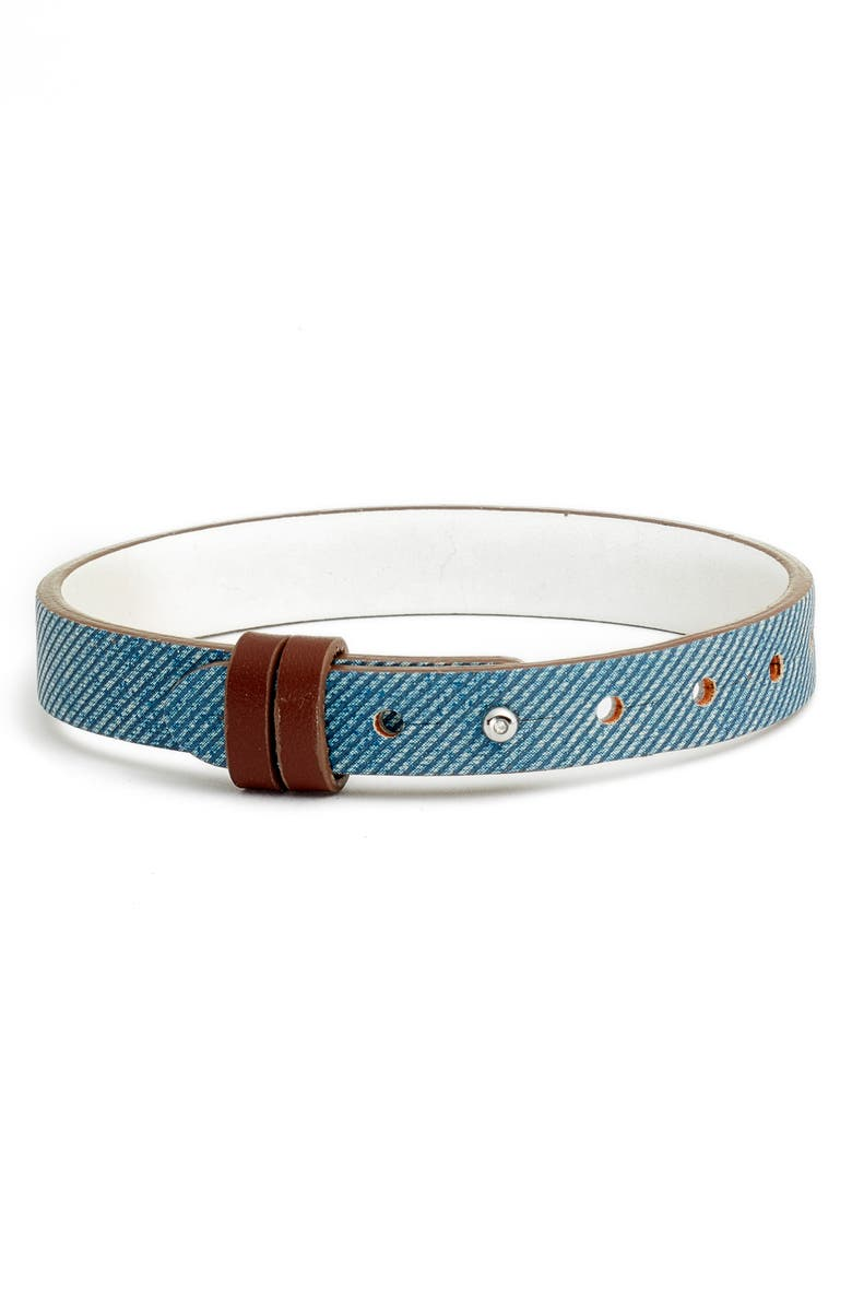 KEEP COLLECTIVE Reversible Leather Band Charm Bracelet, Main, color, BLUE