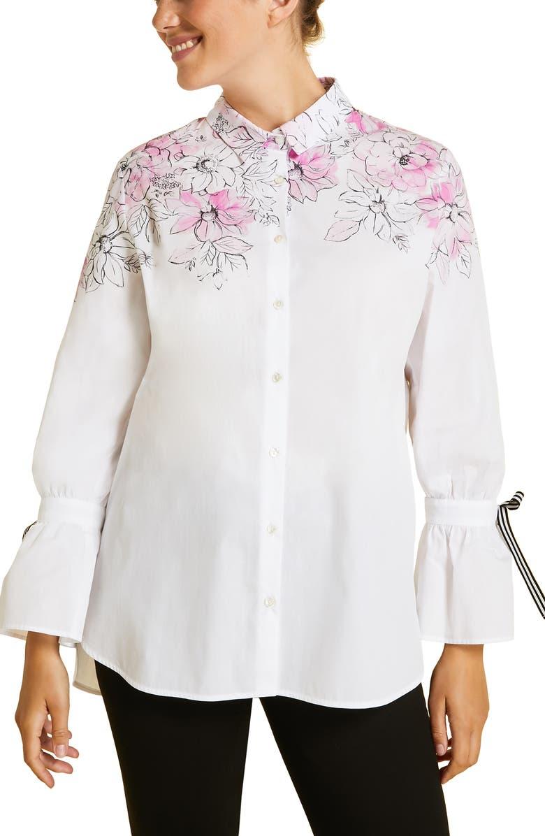 MARINA RINALDI Fascia Poet Sleeve Poplin Shirt, Main, color, 100