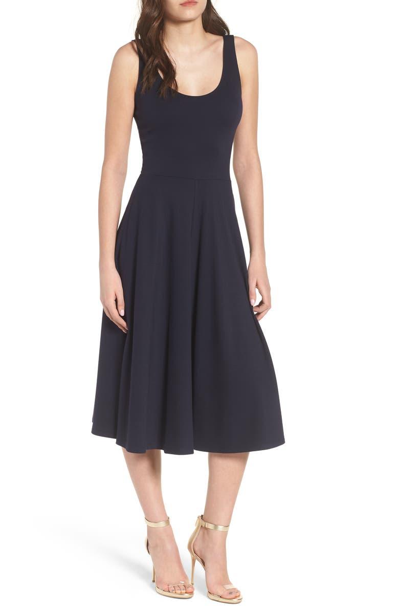 LEITH Stretch Knit Midi Dress, Main, color, 410