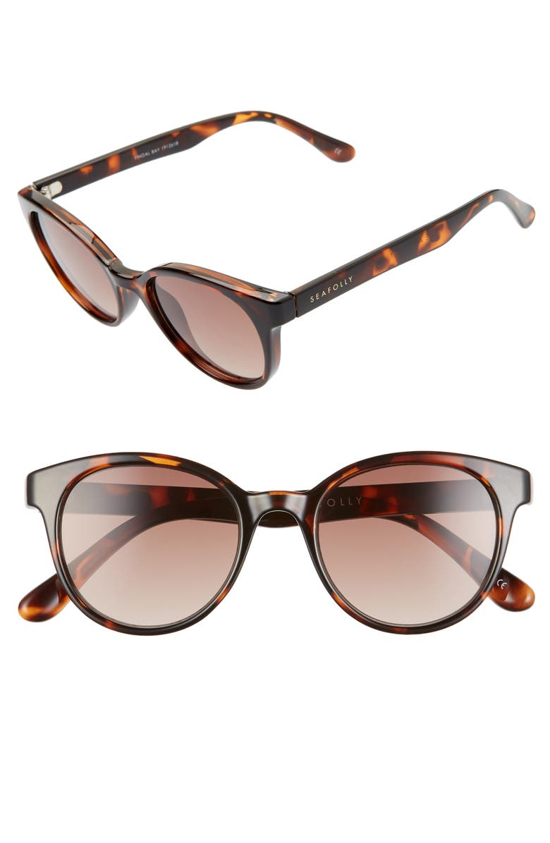 SEAFOLLY Fingal Bay 48mm Round Cat Eye Sunglasses, Main, color, DARK TORTOISE/ BROWN