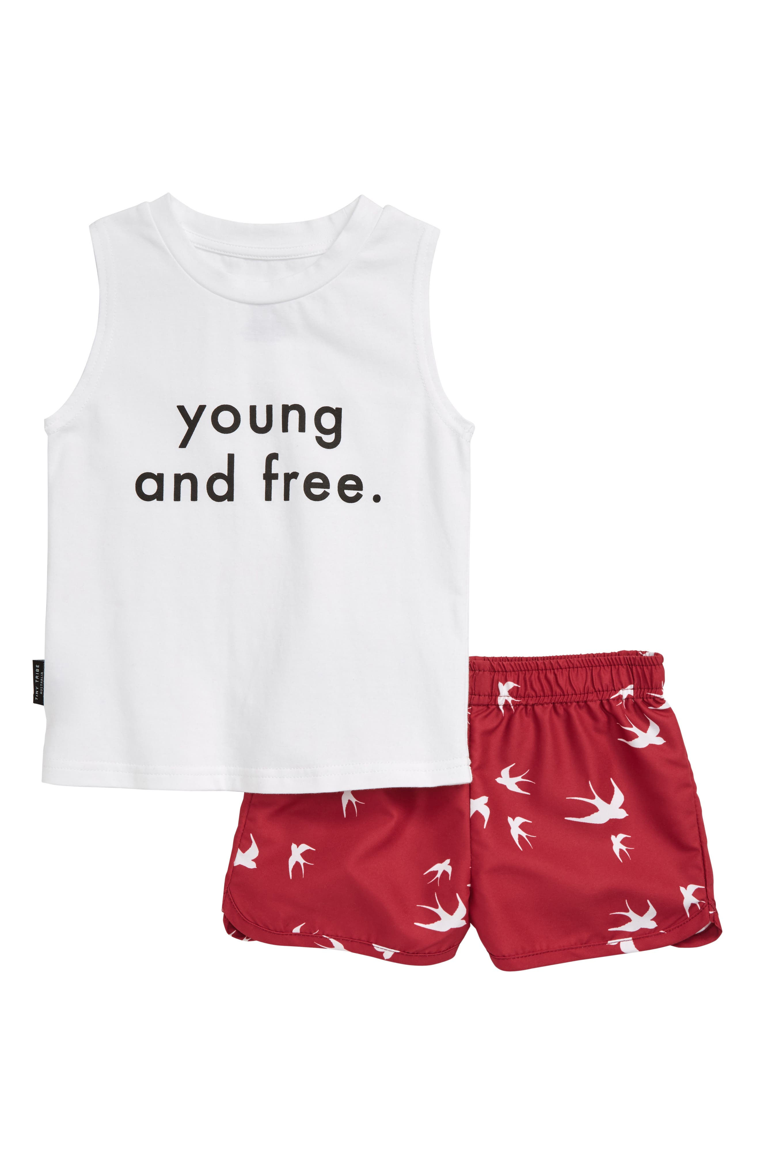 Toddler Girls Tiny Tribe Young  Free Tee  Print Shorts Set