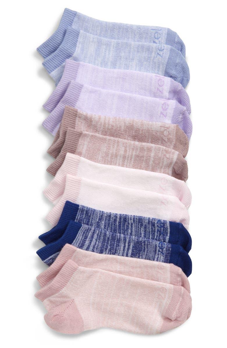 ZELLA GIRL 6-Pack Ankle Socks, Main, color, BLUE CASPIA