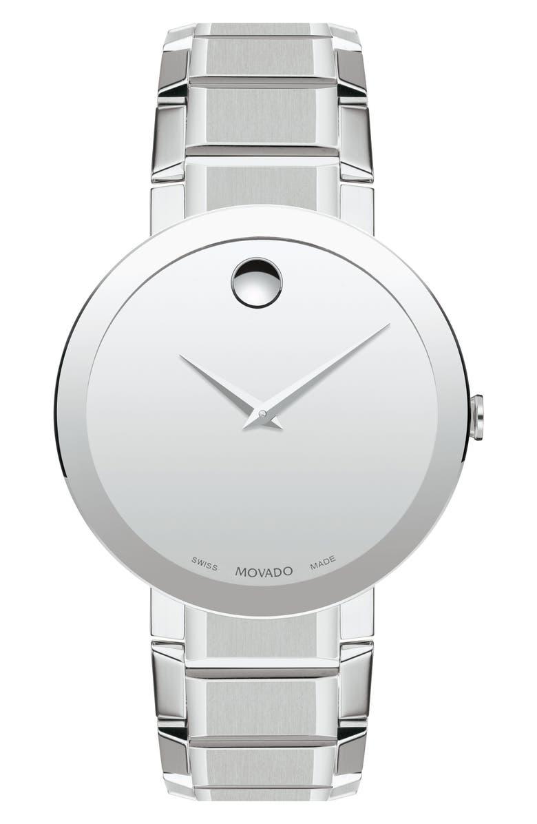 MOVADO Sapphire Bracelet Watch, 39mm, Main, color, SILVER