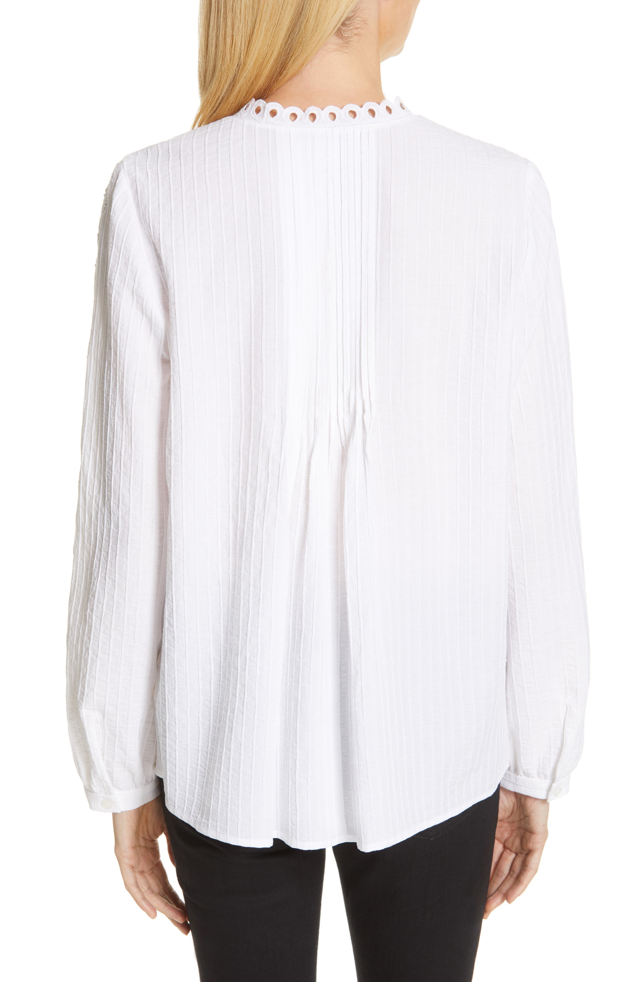 ,                             Embroidered Pleated Blouse,                             Alternate thumbnail 2, color,                             WHITE