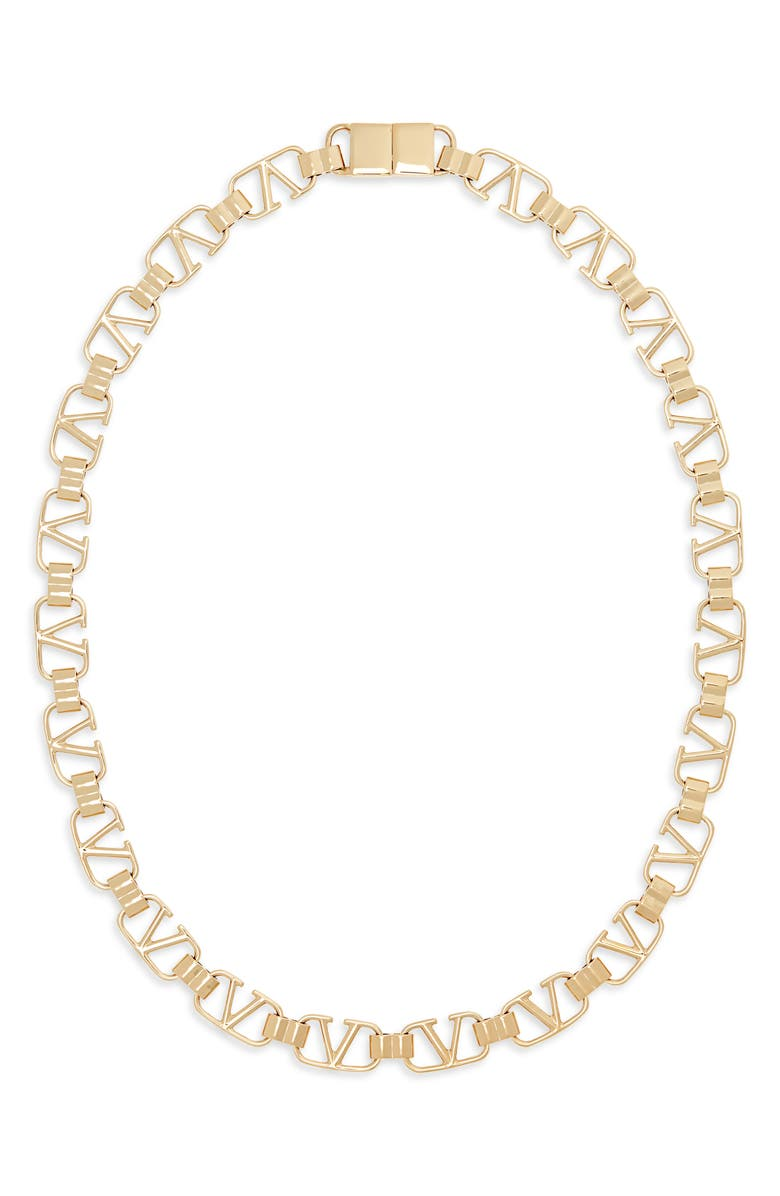 VALENTINO VLOGO Link Necklace, Main, color, GOLD