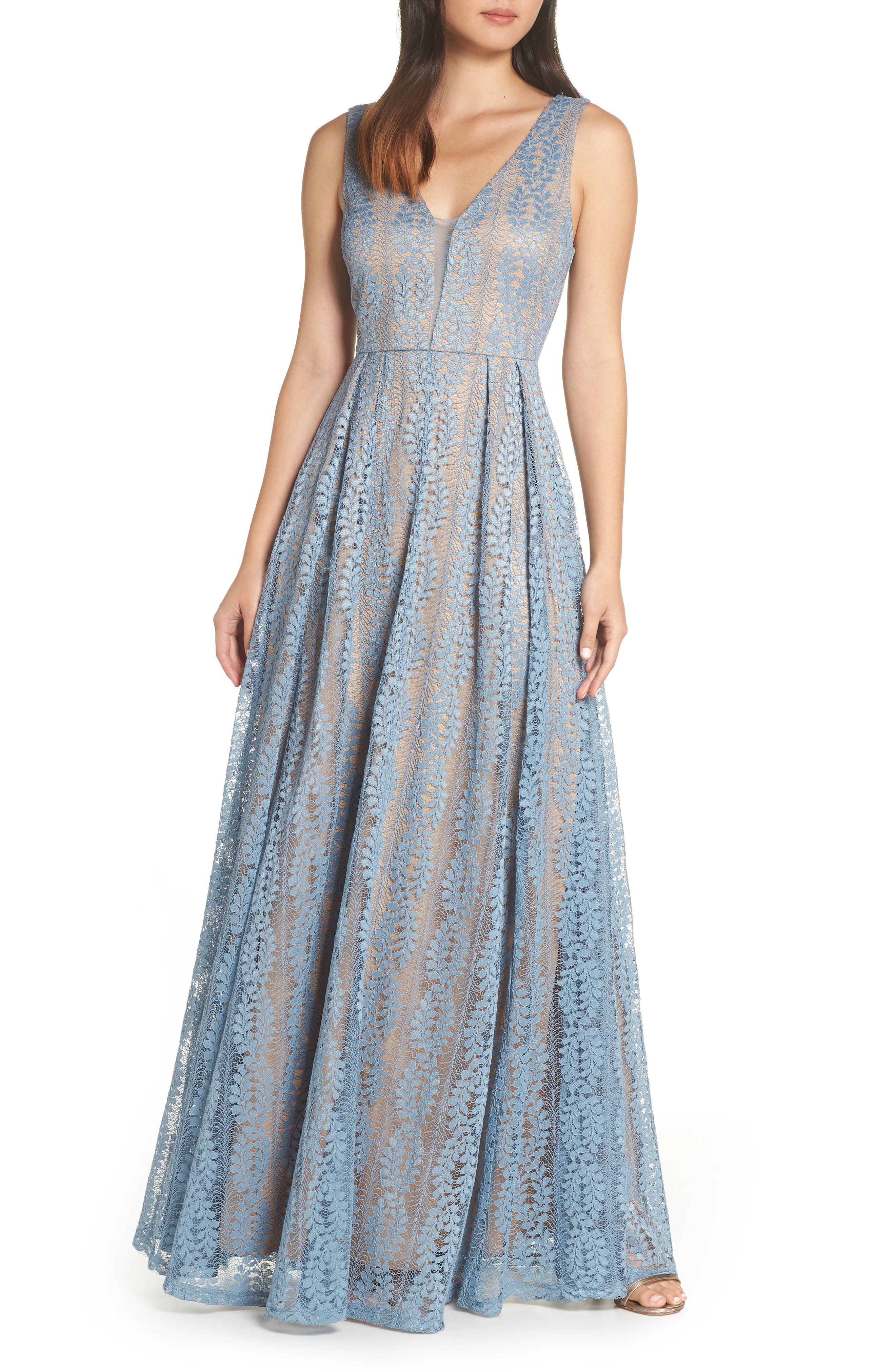 Lulus Eliana Lace V-Neck Gown, Blue