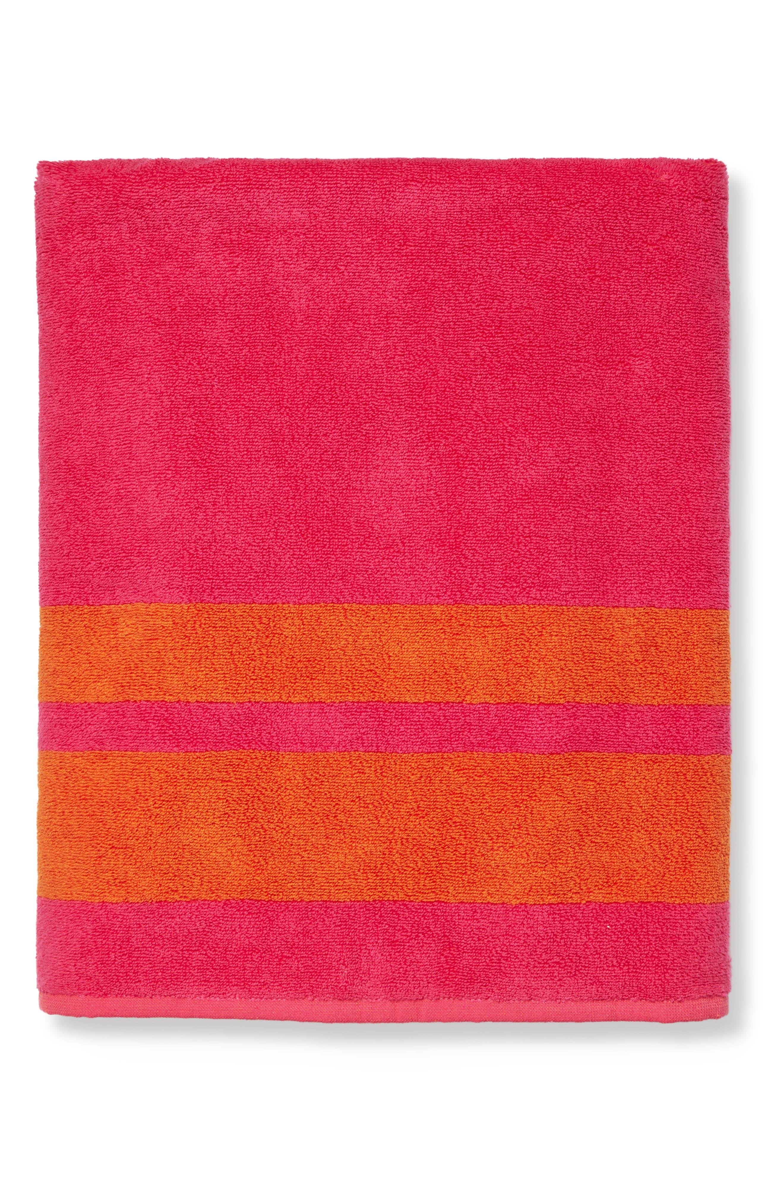 Mareta Stripe Beach Towel, Main, color, RASPBERRY