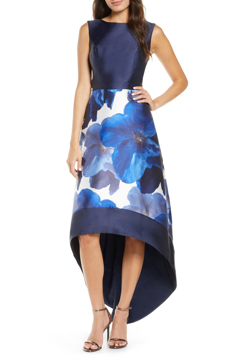 CHI CHI LONDON Bray High/Low Gown, Main, color, NAVY