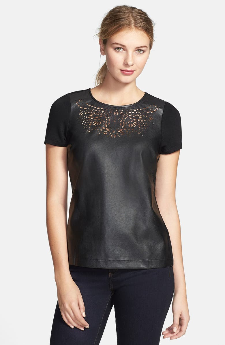 SUNDAY IN BROOKLYN Laser Cut Faux Leather & Ponte Tee, Main, color, 001