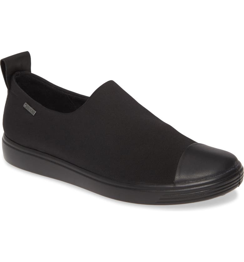ECCO Soft 7 Gore-Tex<sup>®</sup> Slip-On Sneaker, Main, color, BLACK LEATHER