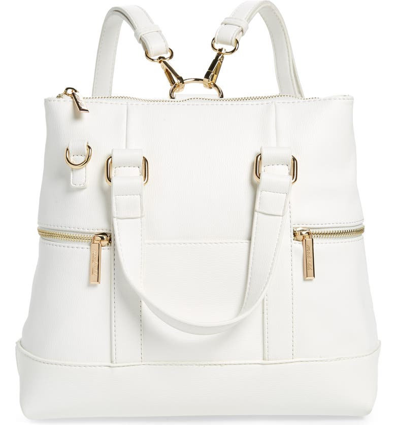 MALI + LILI Sophia Small Vegan Leather Convertible Backpack, Main, color, WHITE