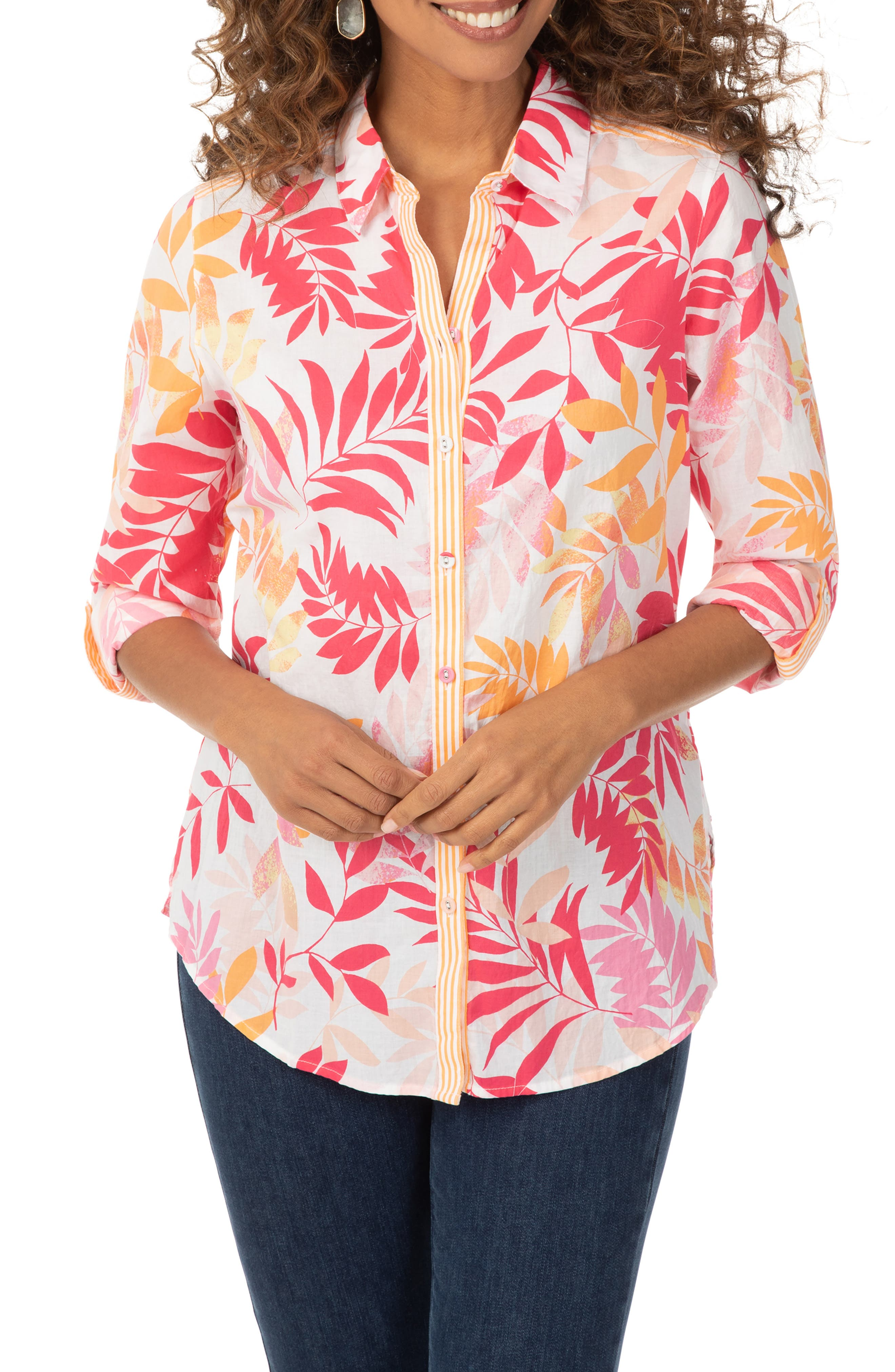Zoey Tropical Leaves Print Button-Up Shirt