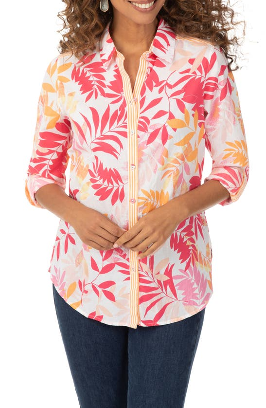 Foxcroft ZOEY TROPICAL LEAVES PRINT BUTTON-UP SHIRT