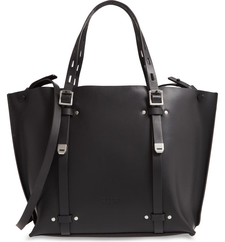 RAG & BONE Mini Field Leather Tote, Main, color, BLACK