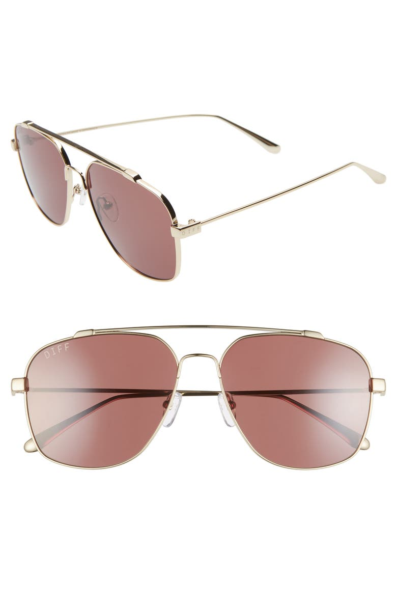 DIFF Atlas 58mm Aviator Sunglasses, Main, color, GOLD/ BROWN