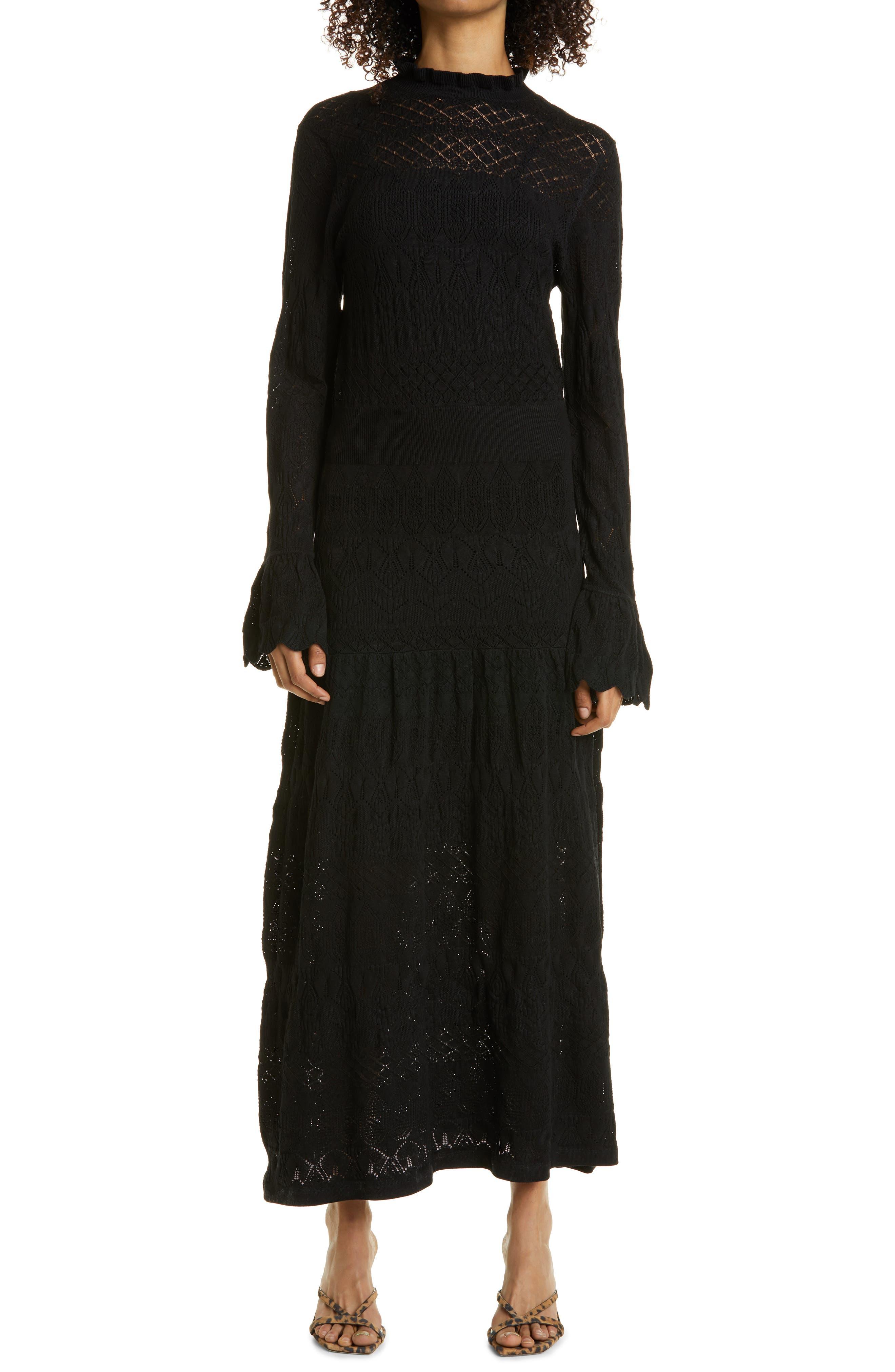 Women's Haute Hippie Long Sleeve Pointelle Knit Maxi Dress