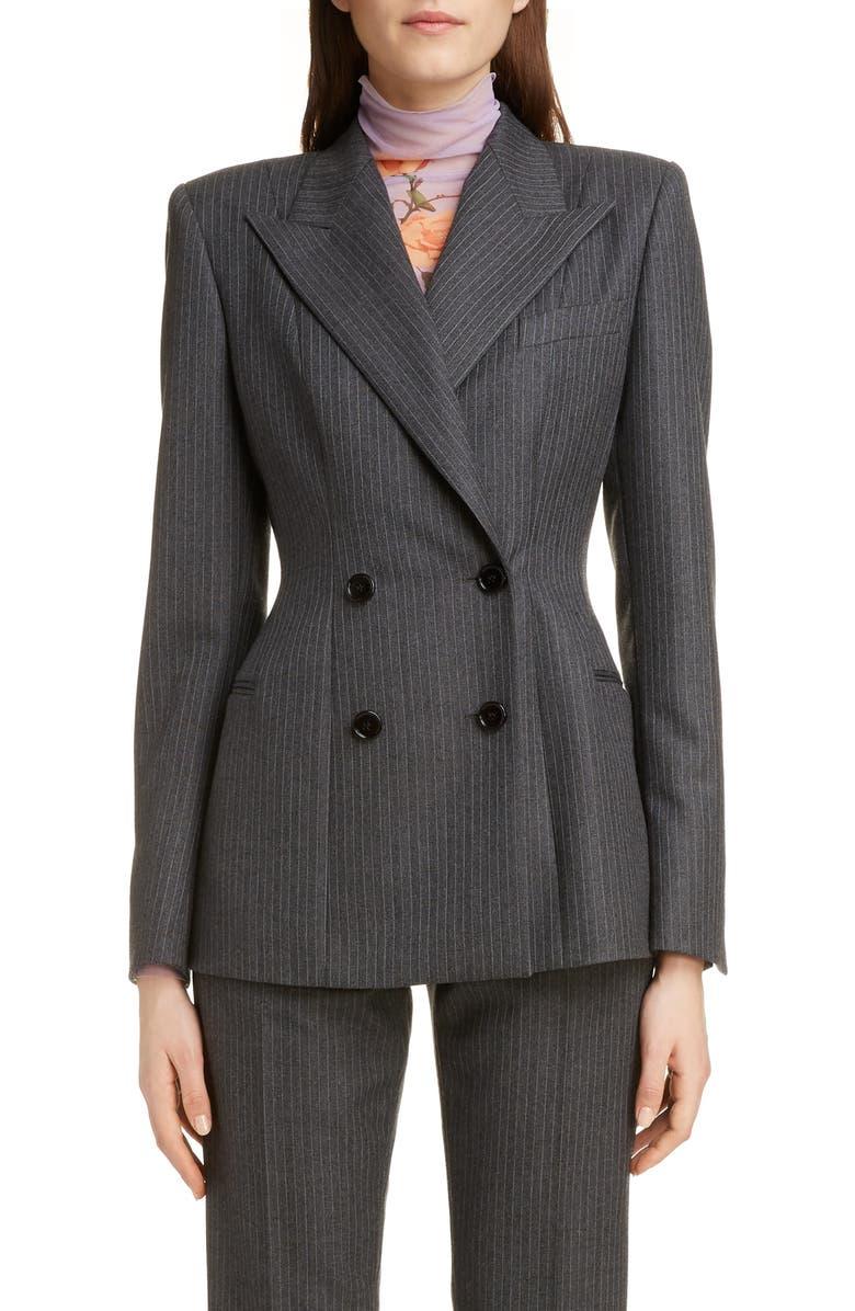DRIES VAN NOTEN Double Breasted Pinstripe Wool Blazer, Main, color, GREY