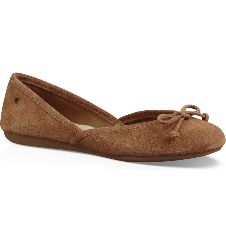 UGG<SUP>®</SUP> Lena Flat, Main, color, CHESTNUT SUEDE